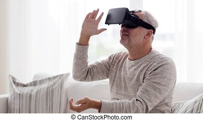 old man in virtual reality headset or 3d glasses - 3d...