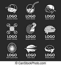 Set of brain vector illustration sign set - Set of brain...