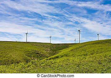 Wind Turbines - Wind farm set in the rolling hills of Fala...
