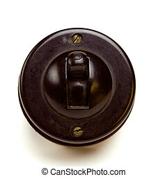 Bakelite Switch - Old Vintage bakelite light switch isolated...