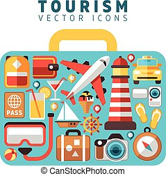Travel holiday vacation concept with flat tourism vector icons in suitcase form