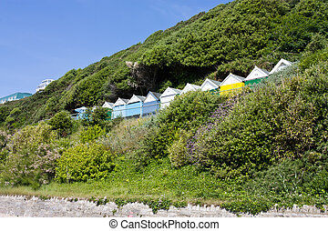 Beach Hut Hill - beach huts off Bournemouth beach, Dorset on...