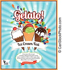 Ice Cream festival retro poster - Ice Cream festival retro...