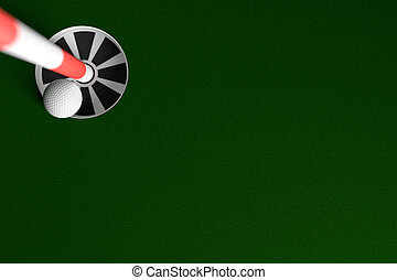 Golf Ball Hole In One Background, 3D Rendering