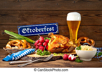Pork knuckle with beer and sauerkraut. Oktoberfest
