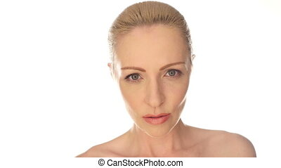 Closeup female face over white - Close up Seductive Bare...