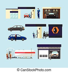 Gas station, car wash and repair shop concept vector isolated objects, icons. Transport related service