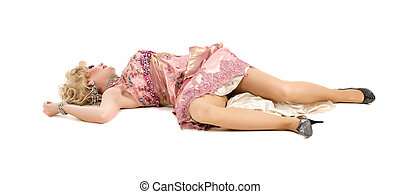 Woman in a Pink Dress Lying on the Floor, on white...