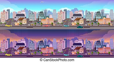 Day and night city Background