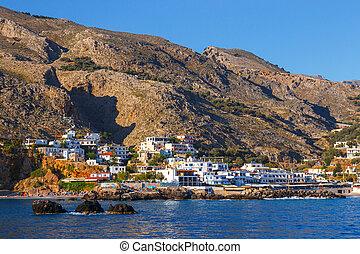 pueblo,  sfakion,  Chora, grecia, pequeño,  Crete, sur