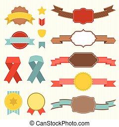 Vector ribbon and badges set 3