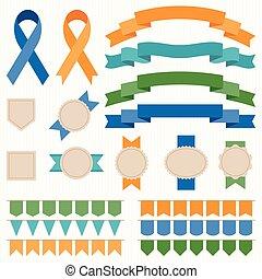 Vector ribbon and badges set 2
