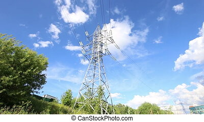 high voltage post. High-voltage tower sky background