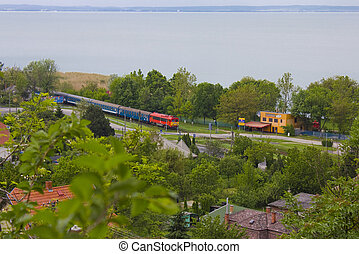 Train at lake Balaton - The lake Balaton, under the blue sky...
