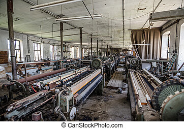 many machines in textile factory