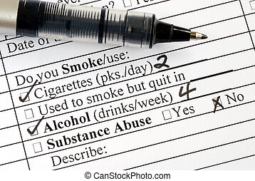 Answer the medical questionnaire - Answer the smoking...