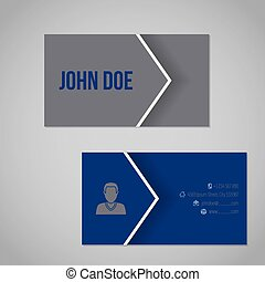 Blue gray business card with cool arrow - Blue gray business...