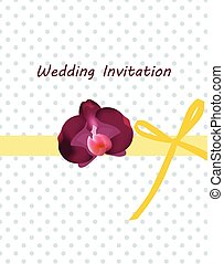 Invitation card with bow and ornaments