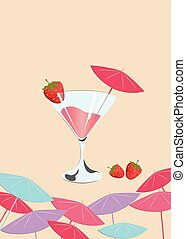 Strawberry cocktail. Summer Sun Party