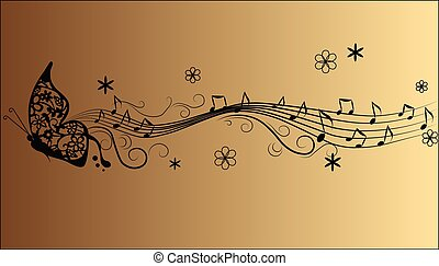 Abstract melody Music notes and butterfly