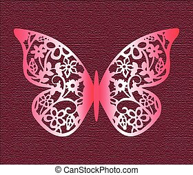 Lace Butterfly on texture background in rose colors. Vector