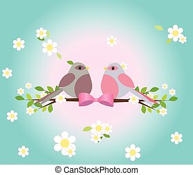 Two pigeons on a tree branch.