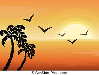 Summer Tropical Sunset background