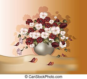 Bouquet of flowers in oil paints color