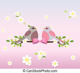 Two pigeons on a tree branch