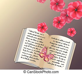 Love written text in a diary. Background with flowers and...
