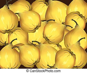 Yellow fresh quinces - Yellow fresh Quince pattern isolated....