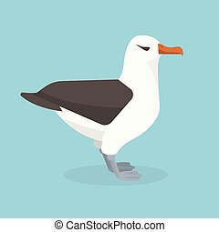 Albatross bird is sitting alone. Vector illustration. -...