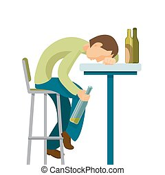 Alcohol abuse concept. Guy has drunk too much.