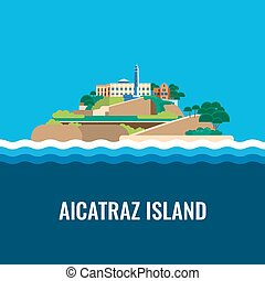 Alcatraz island view from the sea Vector illustration -...