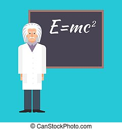 Einstein is standing next to the blackboard with the...