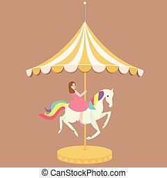 woman girl riding horse carousel cartoon flat carnival...