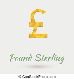 Golden Pound Sterling Symbol - Symbol of the Pound Sterling...