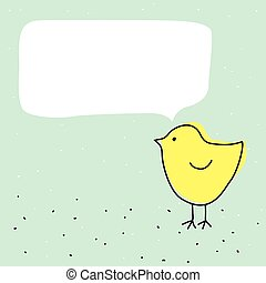 Cute funny little chicken bird with talking bubble - Cute...
