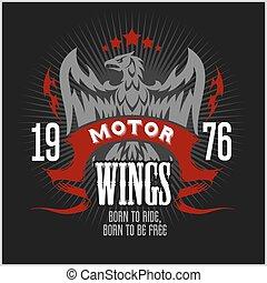 American Eagle Motorcycle Club Emblem.Vintage typography...