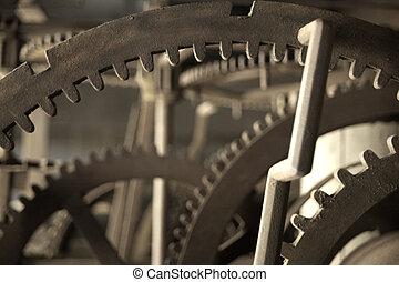 Clock mechanism macro - Close-up of vintage old metal clock...