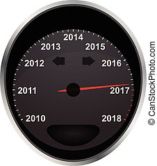 2017 odometer - illustration of years odometer, 2017 year