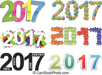 2017 text - illustration set of colorful 2017 year text