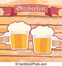 Oktoberfest vector illustration. Two men with beer mugs clinking