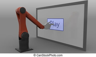 Stylized robot arm clicking Play button. Seamless loop, 4K...