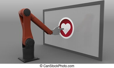 Robotic arm clicking heart-shaped like button. Automated social media promotion concept. Seamless looping, 4K clip, ProRes