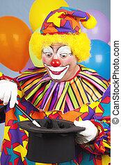 Clown Does Magic Trick - Birthday clown performing a magic...