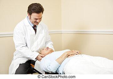 quiropráctico, ajuste, cuello