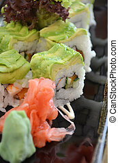 Veggie sushi roll on plate