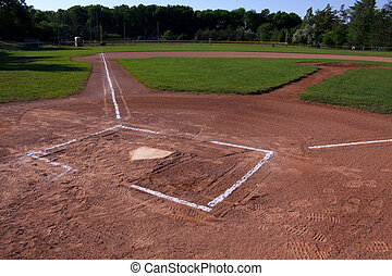 Baseball Field - A wide angle shot of an unoccupied baseball...