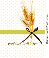 Vintage retro invitation with wheat ears
